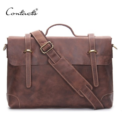 CONTACT'S Vintage Crossbody Bag Genuine Crazy Horse Cowhide Leather Shoulder Bags Men Messenger Bag Men Leather Tote Briefcase
