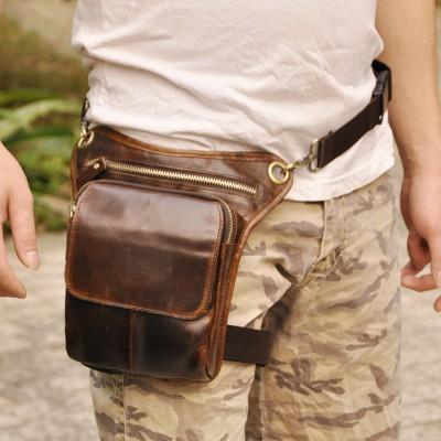 2019 New Top Quality Genuine Real Leather men vintage Brown Small Belt Messenger Bag Waist Pack Drop Leg Bag