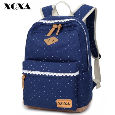 XQXA Ethnic Women Backpack for School Teenagers Girls Vintage Stylish Ladies Bag Backpack Female Dotted Printing High Quality