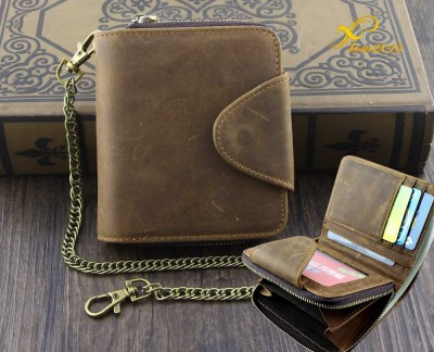 VINTAGE Mens Wallet with Chain Leather Brown Biker Zipper Coin Holder V21