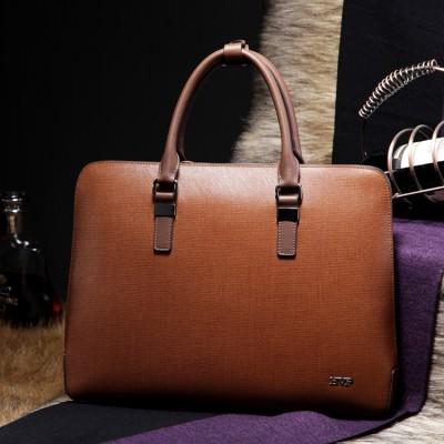 Mens Top Genuine Leather Business Laptop Case Portfolio Tote Attache Fashion Bag 14 briefcase