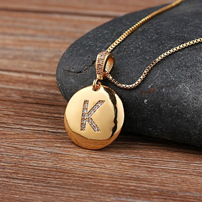 Top Quality Women Girls Initial Letter Necklace Gold 26 Letters Charm Necklaces Pendants Copper Jewelry Personal Necklace