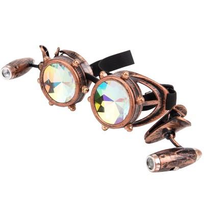 FLORATA Cyber Goggles Steampunk Glasses Vintage Retro Welding Punk Gothic Sunglasses Kaleidoscope Colorful Glasses Lens