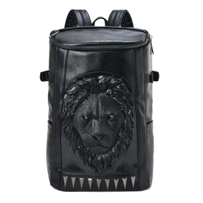 Gothic Backpacks Fashion 3D lion head printed backpacks large capacity men's PU leather bags black rivet animal zipper travel mountaineering bags