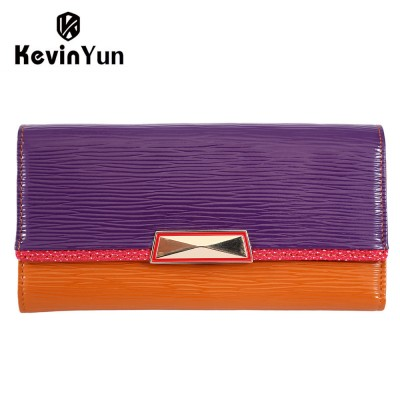 KEVIN YUN fashion designer women wallets long genuine leather purse female clutch wallet patchwork carteira