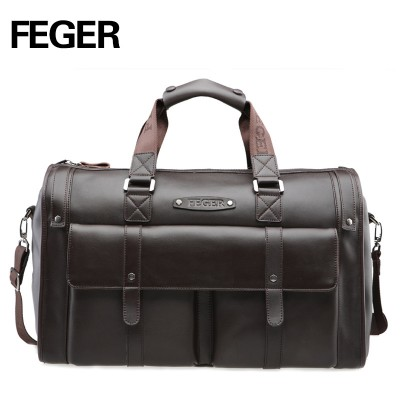 FEGER Best Selling Retro Split Leather Travel Bag Weekend bag for Men Duffel Bag for Daily Use