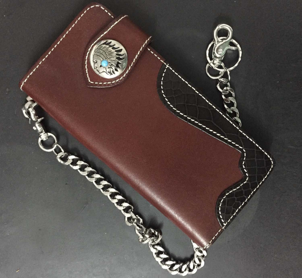 Men/'s Retro Carved Genuine Leather Wallet With Biker Trucker Chain Purse Totes