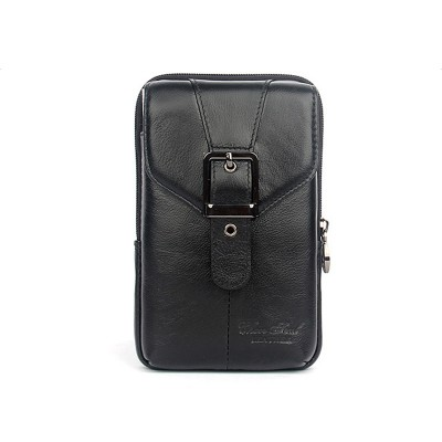 Two style fashion genuine leather men waist packs with high quality head layer of cowhide mobile phone bags for men waist bags