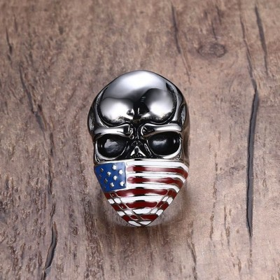 Mprainbow Skull Rings for Men Stainless Steel American Flag Mask Skeleton Big Cocktail Ring Punk  Biker Fashion Jewelry anel