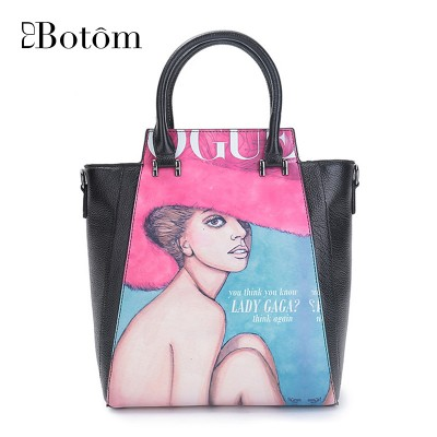 2019 Winter New Character Print Genuine Leather Women Bags Fashin Women Leather Handbags Shell Tote Bags Small Bolsos Mujer