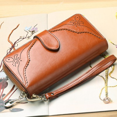 2017 Vintage Envelope Evening Day Clutch Bag Genuine Leather Luxury Brand Women Wallet Cash Card Female Purse Long Girls Wallets