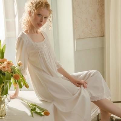 Woman Nightgown Summer Half Sleeve Cotton Sleepwear Nightdress Cozy Nightgowns Simple design