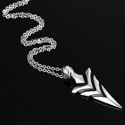 Arrowhead Aim to be Exceptional Mens Tribal Pendant Necklace Stainless Steel V-Shaped Grooves Spike Men Jewelry collares