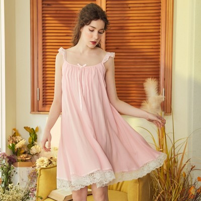 Ladies Sleepwear Camisole Sleep Princess Vest Lingerie Vintage Woman Lovely Negligee Summer Lace Nightwear For Women