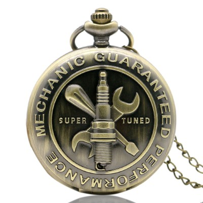 New Arrival Mechanic Guaranteed Performance Theme Super Tuned Words Design 3D Vintage Pocket Watch