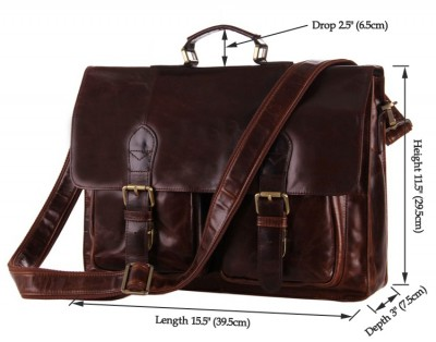 7105-2C J.M.D Rare Vintage Cowhide Leather Laptop Bag For Man Briefcases Men's Dispatch Shoulder Bag