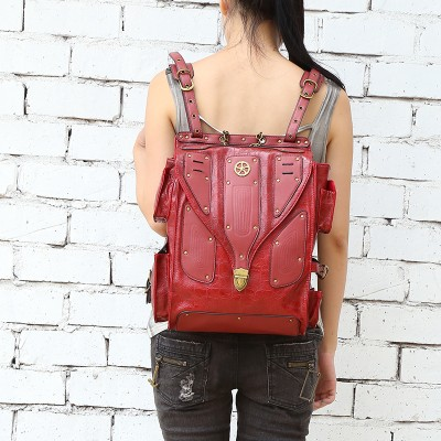 Steelsir New Fashion Street Steampunk Retro Rock Women Backpack Gothic Personality Messenger Waist Bag Unisex Victorian Backpack