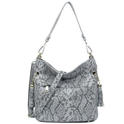 Real Leather Soft Elegent Snake Pattern Tassel Crossbody Handbags Fashion Shoulder Bags For Ladies S0322