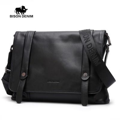 Bison Denim Genuine Leather Men Flap Pocket Messenger Bag Fashion Black Luxury Designer