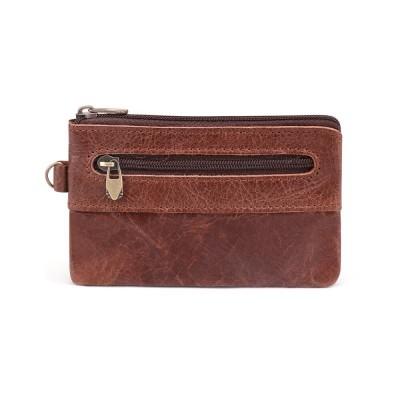 Cowhide Coin Purse Men Genuine Leather Short Wallets Men Women Vintage Slim Zipper Short Wallets Card Holder Cards Purse