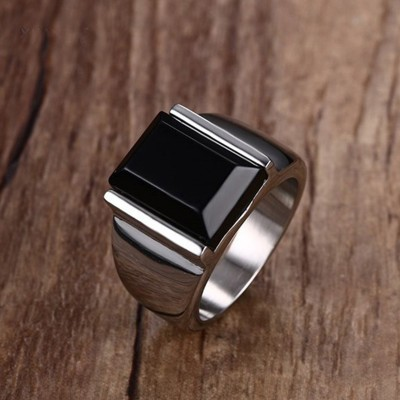 Mens Rings Metal Punk Gothic Ring for Man Black Stone 316L Stainless Steel Charm Wedding Band Male Jewelry