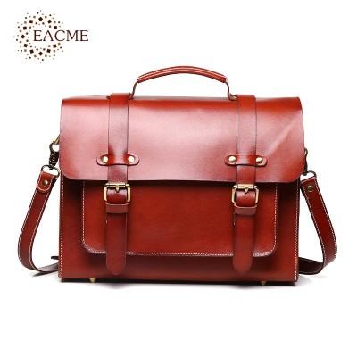 Classic Brown Plant Tanned Cowhide Men's Briefcase Business Handbag Crossbody Bags Vintage Men Shoulder Bag for Male Bolsa Black