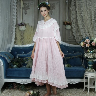 Long Nightgown Vintage Nightdress Women Pink Sleepwear Dress Homewear Plus Size Nightgowns Ladies Princess