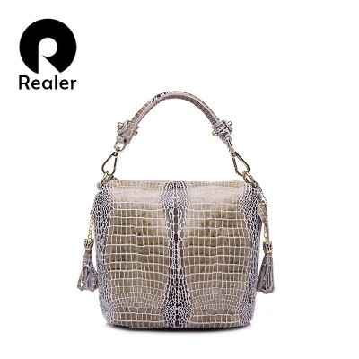 REALER brand genuine leather handbag women small tote bag shoulder bags ladies classic serpentine pattern leather bucket bag