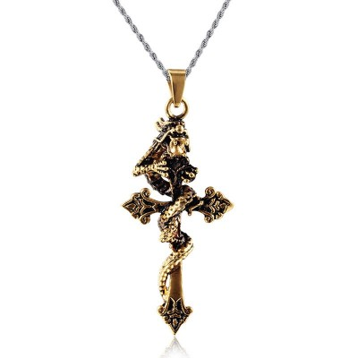 Mprainbow Mens Antique Dragon winding Corss Pendant Necklaces in Stainless Steel Goldtone Vintage Choker Jewelry with Free Chain