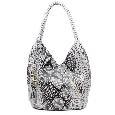 Luxury Featured Medium Size Shiny Snake And Leopard Pattern 100% REAL LEATHER Shoulder Bags For Women B1431