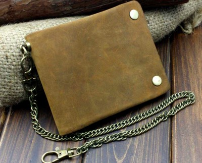 Vintage Biker Trucker Motorcycle Leather Bifold Snap Wallet W Chain