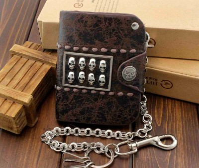 Mens Vintage Skull Bifold Snap Leather Chain Wallet Biker Deathrock Gothic