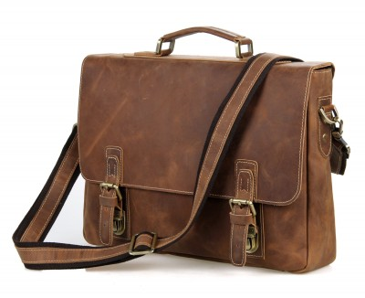 Top Grade Handmade Mens Real Leather Briefcase Vintage Style Messenger Shoulder 15 Inch Laptop Bag Case Business Handbag Tote