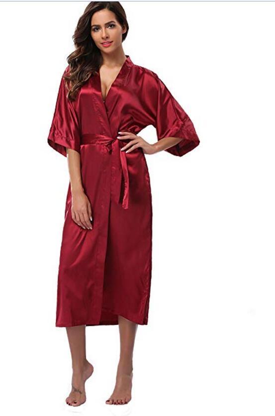 Women Satin Silk Wedding Bath Kimono Robe Bridesmaid Bride Party Dressing Gown