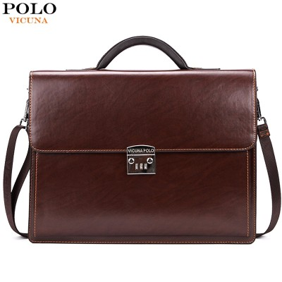 VICUNA POLO Famous Brand Luxury Office Business Mens Briefcase Bag With Coded Lock Large Size Leather Briefcase Business Man Bag