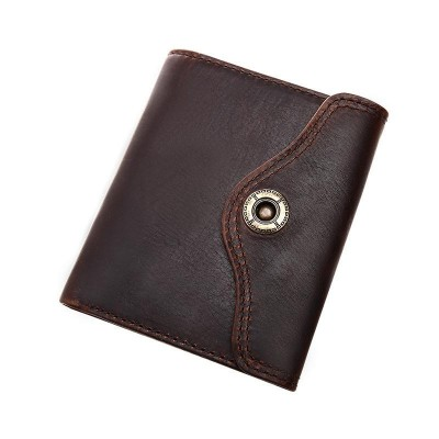 2019 Real Vintage Designer 100% Genuine Masculinas Cowhide Leather Short Wallet Purse Card Holder Pocket Male Retro Wallets
