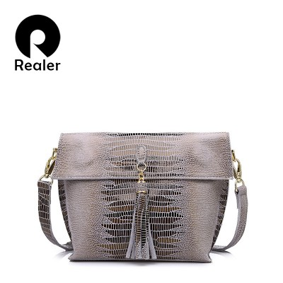 REALER New Women Genuine Leather handbag with Serpentine pattern high quality women Messenger Bag 5 colors ladies handbag