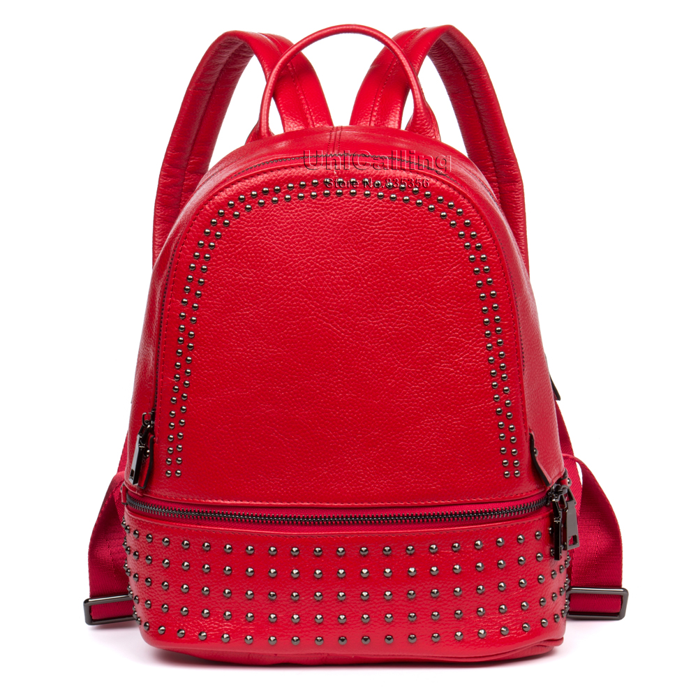 be9ea9c1197e Brand female genuine leather backpack women stylish rivet small ...