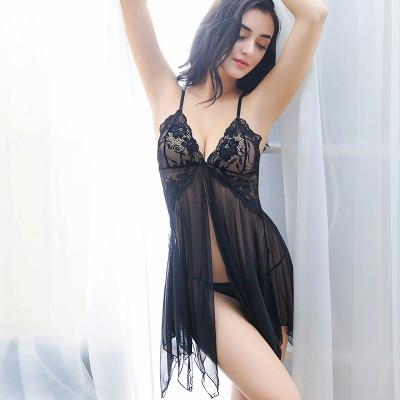 Underwear Clothing V-neck Lace Sleepwear Nightgowns Evening Dress Nightdress