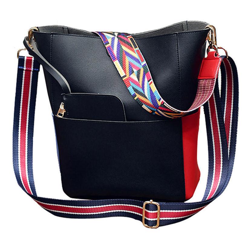 ebc48de38dd5 ... Women Leather Brand Handbags Purses Colorful Shoulder Strap Large  Capacity Bucket Casual Tote Bag Bolsos Mujer. Image 1
