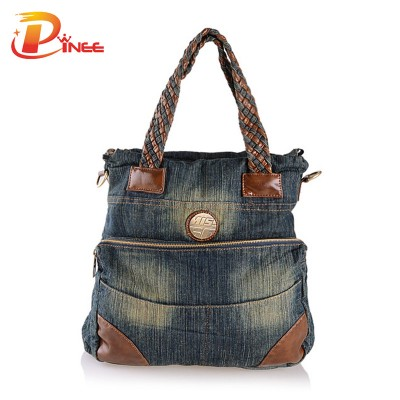 Vintage Denim Shoulder Handbags New Denim Bags for Women Patchwork Kntting Handle Tote Bag Ladies Messenger Bag Vintage Shoulder Bag