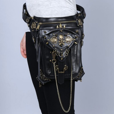 High Quality PU Leather Rivets Unisex Waist Fanny Pack Leg Drop Belt Hip Bum Punk Rock Motorcycle Ride Messenger Shoulder Bag