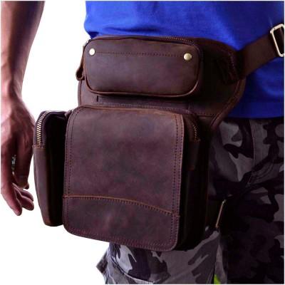 New Top Quality Genuine Real Leather men vintage Brown Small Belt Bag Waist Pack Drop Leg Bag 3108