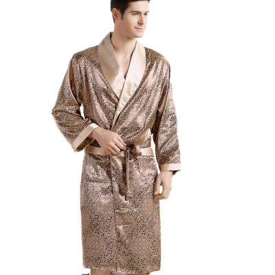 Men Silk long-sleeved Bathrobe Plus Size 5XL kimono Home Bath Gown Male Printed Geometric Robes V-neck Satin Sleepwear Nightgown