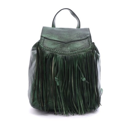 Women Vintage Backpacks Fringe Tassel School Bag Shoulder Bags for Teenagers Girls Korean Travel Daypack Real Leather Backpack