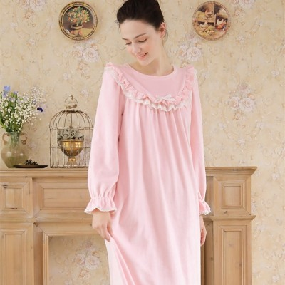 Sleepwear Women Flannel Nightdress Winter Nightgown Pink Yellow Nightgowns Ladies Sweet Homewear
