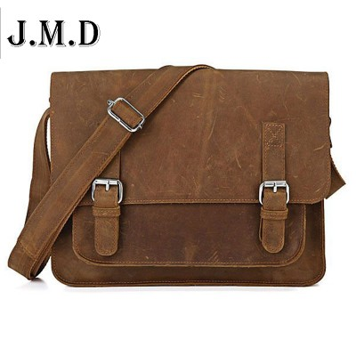 new Real Crazy Horse Leather Men Messenger bag vintage cross Body Bag Shoulder Business Briefcase