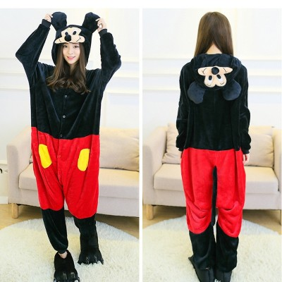 Mickey Mouse Flannel Mickey Cartoon Siamese Pajamas Autumn and winter men and women couple animal home service  costume onesie