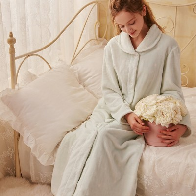 Elegant Robe Long Gown Women Bathrobe Winter Robes Soft Sleepwear Flannel Warm Robe For Lady Homewear Robe High Quality