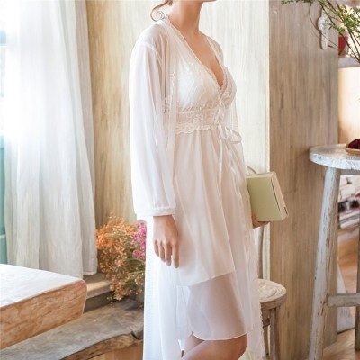 Sexy Robe Set Silk Dressing Gown White Lace Bathrobe Peignoir Sets Negligee Ladies Nighties Gown Women Set Sleep Clothes